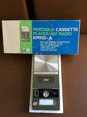 Very Rare 60's Capitol Records cassette player KPR151-A with box! Free Shipping!