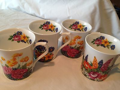 Regal Heritage By Queens Mugs Made in England English Bone China Set 4
