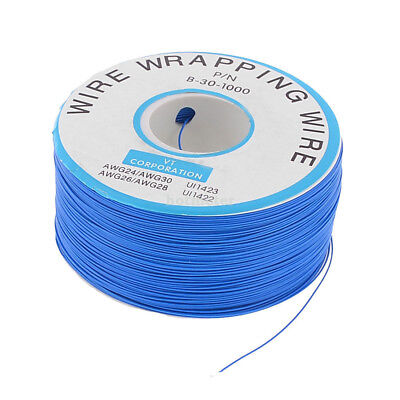 AWG30 PCB Copper Core Jumper Cable Wire Single Conductor Coil 820.2 Ft Blue 34mm