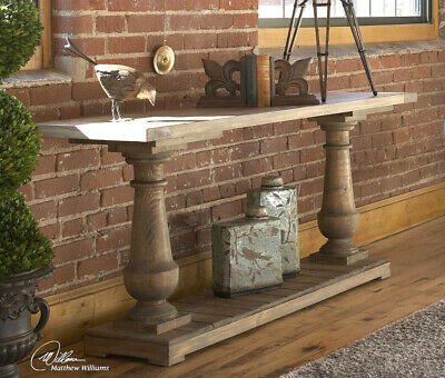 Old World Tuscan French Country Solid Reclaimed Wood Console Sofa Table