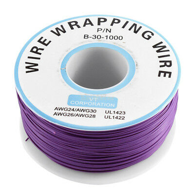 P/N B-30-1000 305M Long PVC Insulation Test Wrapping Wire Wrap Spool Reel Purple