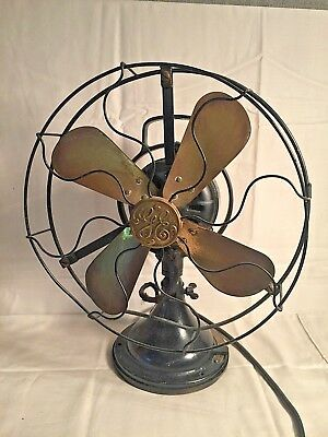 """Antique 12 13"""" GE General Electric Type AOU D22527 4 BRASS BLADE Oscillating FAN"""