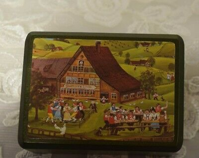 REUGE MUSIC BOX SWITZERLAND Wooden Box Farm Scene Beautiful