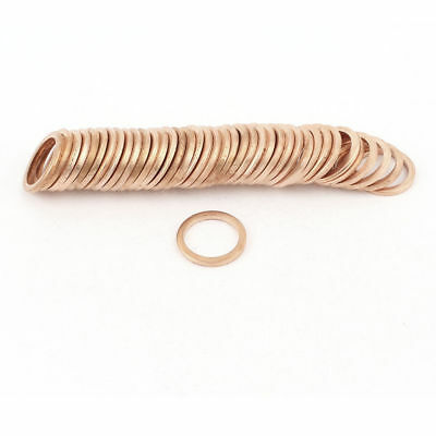 50 Pcs 14mmx18mmx2mm Flat Copper Washer Ring Seal Gasket Replacement 350C 16 MPa