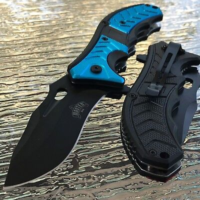 "8.25"" MASTER USA SPRING ASSISTED TACTICAL BLUE HANDLE FOLDING Pocket KNIFE OPEN"