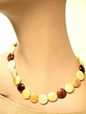 Round Flat Multi-color Beaded Carnelian Necklace, Toggle Clasp, 16 Inches Long