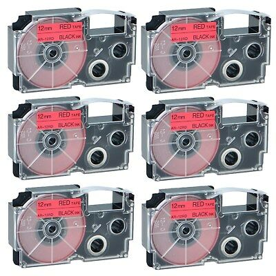 """6PK XR-12RD Black on Red Label Tape for Casio KL-60 100 7000 8200 8800 1/2"""""""