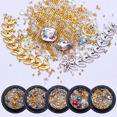 Nail Rhinestones Sharp Back Beads Chain Gold Sliver Multi-size 3D Decoration