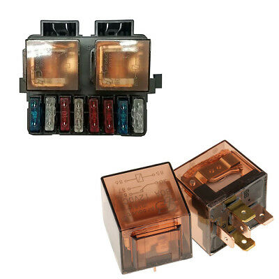Uniersal 12V 2 Way Relay Fuse Box Holder with 8 Fuses Blade Kit Car Boat Truck