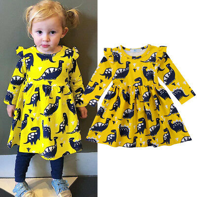 Toddler Kid Baby Girls Long Sleeve Dinosaur Party Pageant Wedding Dress Clothes