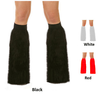 Economy Costume Furry Leg Warmers Fluffy Fur Toppers Rave Wear Red White Black