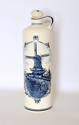 Delft Blue Decanter Jug With Cork Stopper Windmill Blue White Made In Holland Delft