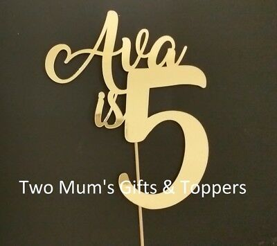 Personalised Birthday Cake Topper -ANY NAME/AGE - mirror metallic gold or silver