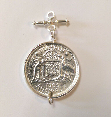 Sterling Silver 1962 Australian Florin Coin Pendant With Fob