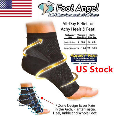 US 1 Pair Foot Angel Ankle Sleeve Anti Fatigue Compression Swelling Relief Socks