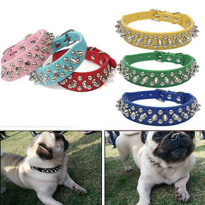 Pet PU Leather Studded Spiked Buckle Cat Puppy Dog Collar Rivet Strap Adjustable