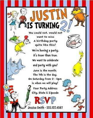 Dr Seuss Horton Thing 1 & 2 Cat Hat Birthday Party Invitations Personalized