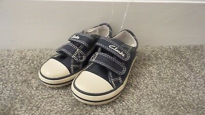 7ee4d7da6ccd CLARKS BOYS HALCY Sky Navy Canvas Shoes FIT E UK 5 Baby Brand New ...