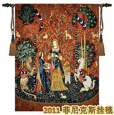 """Smell-the Lady and the Unicorn Woven wall hanging  H 55"""" x W 41"""" TAPESTRY"""