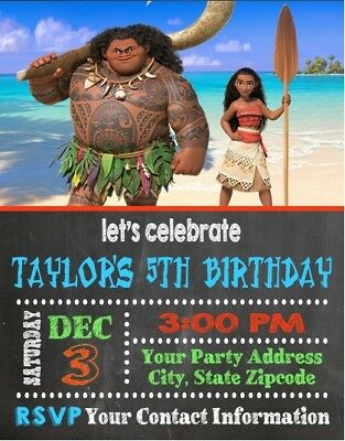 Moana Birthday Party Invitations Invites Personalized Custom