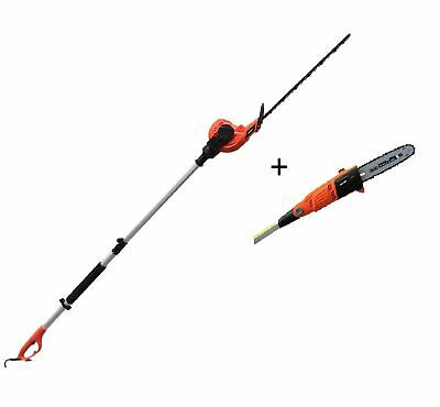 Electric Long Reach Telescopic Pole Chainsaw Pruner Hedge Trimmer Kit 3m eSkde
