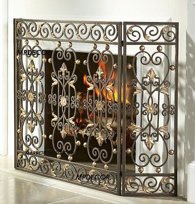 "Tuscan French Country Fleur De Lis Old World Scolls Fireplace Fire Screen 47""W"