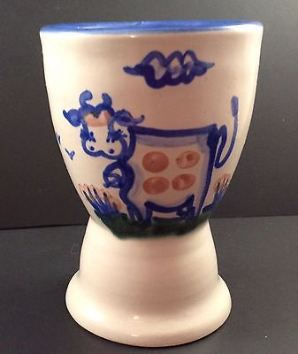 M A Hadley Pottery Egg Cup Cow Double Stoneware Blue Sand Country Farm The End