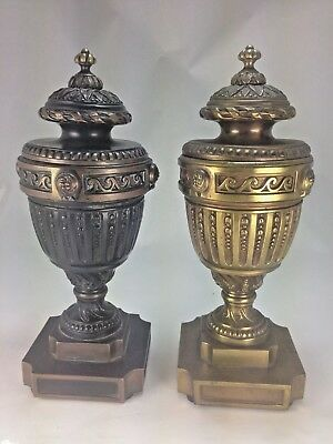 Pair Of French Neoclassical  Gilt Bronze Mounted Urns. France