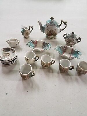 antique child teaset victorian style era ornate teaset
