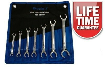 7pc Flare Nut Wrench Spanner Set Brake Pipe Gas Fuel Pipes 8 to 24mm Freepost!