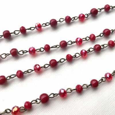 Red Crystal Glass Pearl Beaded Rosary Antique Brass Eyepin Chain 6mm 2 ft 66404