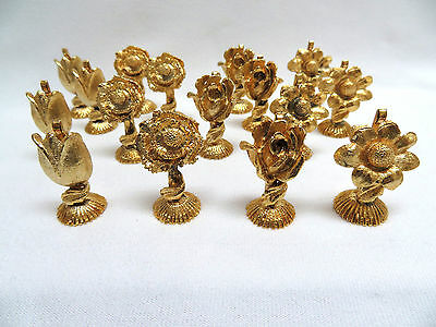 16 Piece Vintage 24k Gold Plated Ormolu Gilt Metal Placecard Holders