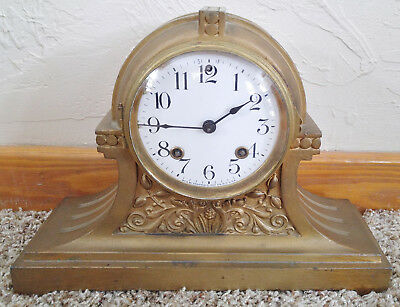 Antique Gold Cast Iron 8 Day Ansonia Mantle Clock, Porcelain Dial, Works Great!