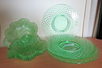 Green Depression Glass Dishes - 3 Uranium Glass Leaf Dishes, 3 Diamond Quilted