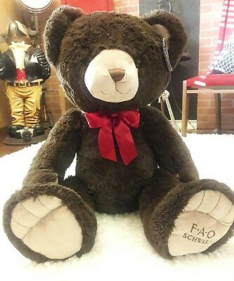 """FAO SCHWARZ HUGE BROWN BEAR Embroidered LOGO Foot Valentines Day Red 3' Foot 36"""""""