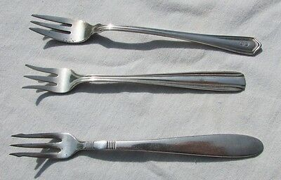 Lot of 3 COCKTAIL SEAFOOD FORKS silver plate