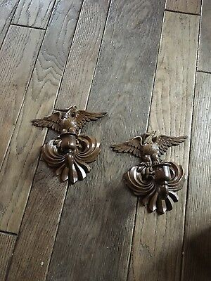 Vintage Pair Sexton Metal American Eagle Candle Holders Wall Sconces- Very Nice