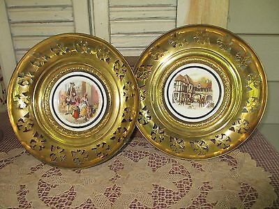 2 Regency bone china & brass wall hanging vintage plates made in England Antique