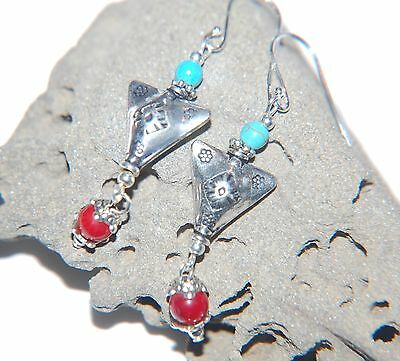 TURQUOISE & Red CORAL Gemstone & Tibetan Triangle Sterling Silver Earrings