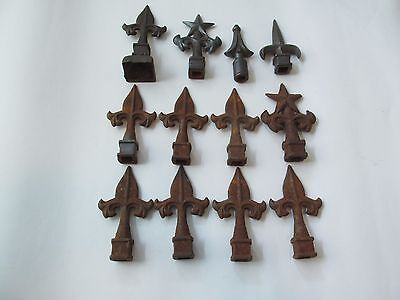 "Antique 12 Cast Iron Finials 5 Designs About 5"" Height"