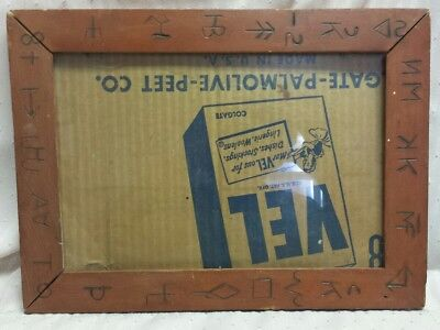 "Vintage Antique Solid Wood Photo Frame Cattle Brands 13""×9"" Picture Western Old"