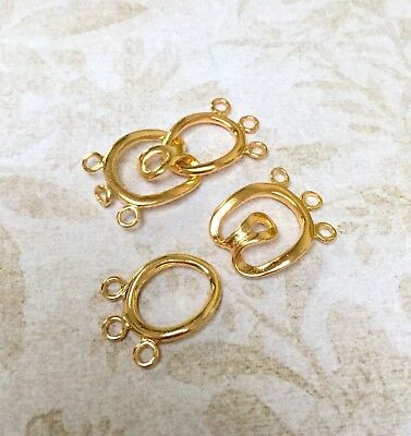 4 sets - Gold Colour Brass Hook-and-Eye Clasp, 3-strand clasps closure
