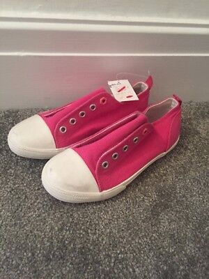 John Lewis Girls Coco Eyelet Pink Canvas Shoes UK 1 Brand New RRP £15