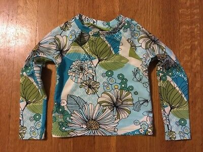 Tea Collection Floral Rash Guard Swimming Suit Top Girls 18-24 Month Blue Green