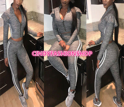 USA Women Two-Piece Crop+Pants Casual Bodysuit Outfit Jumpsuit Rompers(G)