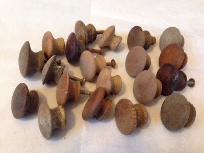 Mixed Lot 20 Domed Round Dark Wood Antique Cabinet Knobs Drawer Pulls 3-4cm