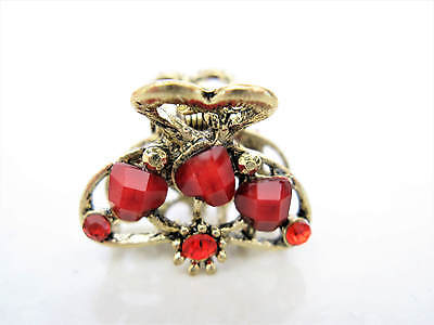 small mini metal red heart shaped jeweled antique style bronze hair claw clip