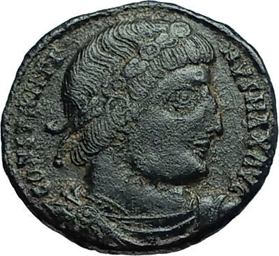 CONSTANTINE I the GREAT 330AD Authentic Ancient Roman Coin w SOLDIERS i66276