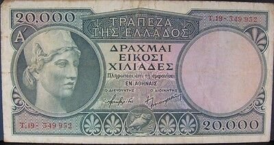 1947 ND Greece 20,000 Drachmai Note P-179 Nice Details  ** FREE U.S SHIPPING **