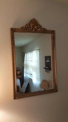 Antique 1920's Victorian Style Hanging Frame Antique Gold Square Wall Mirror